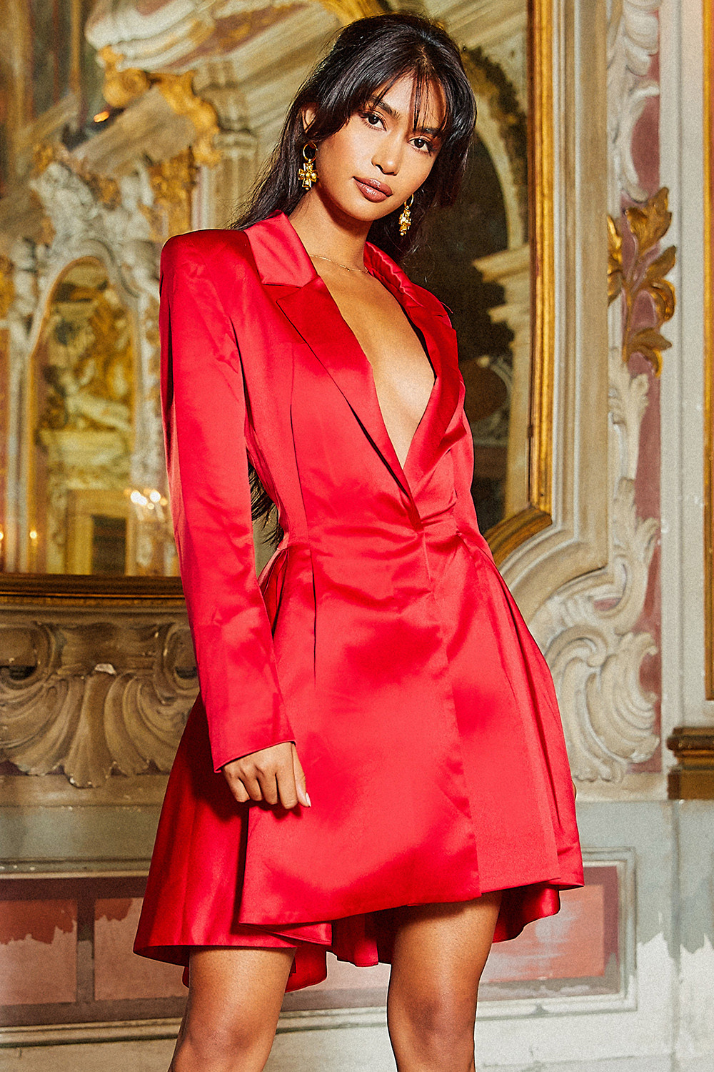 Red Satin Tailored Jacket Dress Mohglam Shop